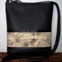 City Bag Mini: Nagy utazás.... , Táska, Ruha, divat, cipő, Baba-mama-gyerek, Varrás, Ahogy ígértem, jönnek a tesók is :)  Most fekete textilbőrből készült ez a kis oldaltáska, elejére e..., Meska