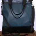 ÚJ KOLLEKCIÓ: City bag : XL türkizkék velúrral és fekete bőrrel , Táska, Ruha, divat, cipő, Varrás, Ő már elkelt, de tudok még ilyet készíteni!! :)  Kedvenc városba járós,rohangálós táskáim többsége ..., Meska