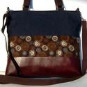 City bag  XXL :  Farmer őszi virágokkal és barna bőrrel, Táska, Ruha, divat, cipő, Varrás, Kedvenc városba járós,rohangálós táskáim többsége ilyen, ők adták az ihletet: igazi jó nagy pakolós..., Meska