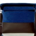 City Bag Midi Foldover: Barna és kék :), Táska, Ruha, divat, cipő, Varrás, Midi fazonú táskából is készült lehajtós fazon. A karabineres pántot a felső vagy alsó karika párba..., Meska
