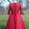 piros csipke ruha, menyecske ruha, Ruha, divat, cipő, Női ruha, Ruha, Varrás, Csupacsipke ruha, tüllszoknyával menyecskeruhának vagy alkalmi ruhának. Különleges, nőies, extravag..., Meska