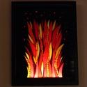 Tűz - üvegmozaik falikép világítással, Dekoráció, Otthon, lakberendezés, Lámpa, Falikép, Mozaik, Mindenmás, Világító üvegmozaik falikép  mérete:32,5*42,5cm  Üveglapra ragasztottam a motívumot üvegmozaik tech..., Meska