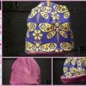 Butterfly in purple, Ruha, divat, cipő, Kendő, sál, sapka, kesztyű, Sapka, Varrás, Kifordítható 46-48-as sapka kislányoknak!  Sárga lepkék liláskék alapon, lila belsővel, vagy, ha ak..., Meska