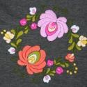 Pamut jersey körsál  - tavasz - melír sötétszürke, rózsaszín, narancs - csíkos háttérrel, Ruha, divat, cipő, Magyar motívumokkal, Női ruha, Hímzés, Varrás, Gyönyörű, kézzel hímzett tavaszi körsál.  ¤ anyaga: sötét melírszürke + narancsos hajszálcsíkos pam..., Meska
