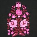Puha flanel körsál  - fekete, pink, Ruha, divat, cipő, Magyar motívumokkal, Női ruha, Hímzés, Varrás, Elegáns, körsál nőknek  ¤ puha flanel, pamut jersey ¤ kézzel hímzett ¤ több színű - hagyományos min..., Meska