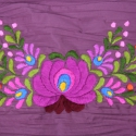 Vékony gyűrt puplin - lila, kézzel hímzett óriás matyó rózsával, Ruha, divat, cipő, Magyar motívumokkal, Női ruha, Hímzés, Varrás, Gyönyörű, kézzel hímzett körsál.  ¤ anyaga: sötét mályva gyűrt puplin ¤ hímzés: meggy, és hagyomány..., Meska
