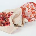 Vékony, pamut körsál  - natúr - narancs, bordó mintával - matyó - hímzett - ajándék külföldinek, Ruha, divat, cipő, Magyar motívumokkal, Női ruha, Hímzés, Varrás, Gyönyörű, kézzel hímzett körsál.  ¤ anyaga: vékony natúr pamut, narancs-bordó-barna modern mintás h..., Meska