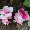 Pink páros hajdisz, Baba-mama-gyerek, Esküvő, Ruha, divat, cipő, Hajbavaló, Virágkötés, Krokodil csat alapra (készen vásárolt) pink árnyalatú selyem virágokkal díszítettem ezt a vidám dar..., Meska