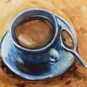 kávéscsésze - festmény , Képzőművészet, Otthon, lakberendezés, Festmény, Falikép, Festészet, Egy csésze kávét ábrázoló akril kép. 50x40 cm -es farostlemezre kasírozott festővászonra készítette..., Meska