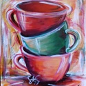 Színes csészék - festmény, Dekoráció, Képzőművészet, Kép, Festmény, Festészet, Színes csészéket ábrázoló akril kép. 50 x 40 -es farostlemezre kasírozott festővászonra készítettem..., Meska