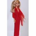 Barbie ruha - Vörös estélyi organza virágokkal, Játék, Ruha, divat, cipő, Baba játék, Baba, babaház, Varrás, Piros rugalmas anyagból és orgánzából készült, az organza virágok közepére piros gyöngyöt varrtam. ..., Meska