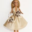 Barbie ruha táskával, Játék, Ruha, divat, cipő, Baba, babaház, Baba játék, Varrás, Szaténból készült a ruha és a táska is. Szatén szalaggal és gyöngyökkel díszítettem őket, mindkettő..., Meska