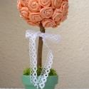 Örökké virágzó rózsafa -  dekoráció barack színben - esküvő, ajándék, születésnap, névnap, Dekoráció, Esküvő, Otthon, lakberendezés, Papírművészet, Virágkötés, Egyenként, kézzel készült papírrózsákból álló saját tervezésű dekorációs fa.   Nem létezik belőle k..., Meska