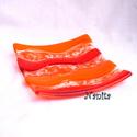 Narancs hullámok - fusing üvegtál, mécsestartó, Dekoráció, Otthon, lakberendezés, Gyertya, mécses, gyertyatartó, Üvegművészet, Élénk narancssárga Bullseye üvegből olvasztottam ezt a kis tálat. Hullámos-pöttyös mintájával, elké..., Meska