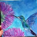 Az én kolibrim .<3, Képzőművészet, Festmény, Akril, Festészet, Már rég óta készülök festeni egy ilyen madárkát. Fogadjátok szeretettel, :)  20*20 -as feszített vá..., Meska