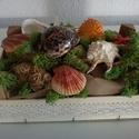AKCIÓ!!!!!!!!!!!!!!  Asztaldísz , Dekoráció, Otthon, lakberendezés, Dísz, Kerti dísz, Mindenmás, Virágkötés, Tenger kincsei rusztikus stílusú kagylós díszítésű asztaldísz. Natur faládában pamut csipkepántal d..., Meska