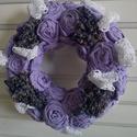 Levendulás ajtódísz, Dekoráció, Otthon, lakberendezés, Mindenmás, Virágkötés, Szívből ajánlom minden levendula kedvelőnek!   Saját kézzel lila vászonanyagból rózsákat készítette..., Meska