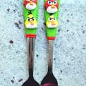Angry Birds kiskanál+villa , Konyhafelszerelés, Otthon, lakberendezés, Baba-mama-gyerek, Gyurma, Mindenmás, Ez a kiskanál+kis villa szett tökéletes ajándék bármilyen alkalomra, kicsiknek és nagyoknak egyarán..., Meska