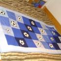Focilabdás fiú patchwork ágytakaró , Baba-mama-gyerek, Otthon, lakberendezés, Gyerekszoba, Falvédő, takaró, Patchwork, foltvarrás, Aki sportol, vagy szereti a sportot neki való ez a kék színárnyalatú  ágytakaró, melyet ajándékba k..., Meska