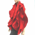 Nemez sál dupla fodros - piros - Merinó gyapjú, Ruha, divat, cipő, Kendő, sál, sapka, kesztyű, Sál, Nemezelés, Piros nemezelt gyapjú sál. Kiváló minőségű ausztrál merinó gyapjúból, kézzel nemezelve.  Könnyű, puh..., Meska