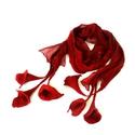 Nuno nemez sál, virágokkal , Ruha, divat, cipő, Kendő, sál, sapka, kesztyű, Sál, Nemezelés, Selyemfestés, Rozsdabarna nuno nemez sál, virágokkal 100% természetes anyagok: áttetsző matt  hernyóselyem és mer..., Meska