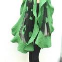 Nuno nemez selyem stóla - Zöld, Ruha, divat, cipő, Kendő, sál, sapka, kesztyű, Sál, Nemezelés, Nuno nemez stóla Kiváló minőségű anyagokból: hernyóselyem és ausztrál merinó gyapjú.  Kézzel nemeze..., Meska