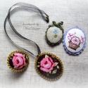 Kiárusítás!!! Romantikus, vintage, szövet nyaklánc és gyűrű készlet 2 db ráadás medállal, Ékszer, óra, Nyaklánc, Gyűrű, Medál, Ékszerkészítés,  Romantikus, vintage, szövet nyaklánc és gyűrű készlet, gyönyörű barna alapú rózsa mintás Tilda tex..., Meska