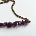 Ametiszt nyaklánc, Ékszer, óra, Medál, Nyaklánc, Ametiszt bronz színű szerelékekkel és nyaklánccal. A medálrész szélessége 6 cm. A lánc hossza 2 x 22..., Meska