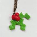 Karácsonyi magyal - süthető gyurma nyaklánc, Ékszer, óra, Medál, Nyaklánc, Kézzel készült, süthető gyurmából. Bronz színű 45 cm-s láncra került. Visszafogott téli, karácsonyi ..., Meska