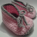 Rózsaszín-szürke horgolt babacipő 0-3 hónapos korig, Baba-mama-gyerek, Ruha, divat, cipő, Cipő, papucs, Horgolás, A legkisebbeknek horgolni öröm. Mindennapi viselete, praktikus öltözékkiegészítője lehet gyermekedn..., Meska