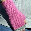 Siduk- kötött kézmelegítő, Ruha, divat, cipő, Kendő, sál, sapka, kesztyű, Kesztyű, Kötés, Szürke és rózsaszín vastag, akril fonalból, harisnyakötőtűvel kötöttem ezt a puha, meleg kézmelegít..., Meska
