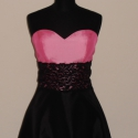Rózsaszín-fekete csipkés alkalmiruha szalagavatóra nyakkendővel, Ruha, divat, cipő, Női ruha, Estélyi ruha, Varrás, Rózsaszín-fekete taft alkalmi ruha mell alatt fekete csipkével esküvőre,bálra,szalagavatóra. A ruha..., Meska