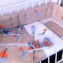 TENGERÉSZ ágynemű - beige-kék-narancs - takaró+párna, Baba-mama-gyerek, Gyerekszoba, Falvédő, takaró, Festett tárgyak, Mindenmás, Egyedi, különféle vidám, színes textilekből készített, applikációkkal ellátott baba- gyerektakaró é..., Meska
