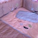 ORIGAMIS ágynemű - beige-barna-kék - takaró+párna, Baba-mama-gyerek, Gyerekszoba, Falvédő, takaró, Festett tárgyak, Mindenmás, Egyedi, különféle vidám, színes textilekből készített, applikációkkal ellátott baba- gyerektakaró é..., Meska