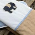 ELEFÁNTOS ágynemű - beige-kék-fehér - takaró+párna, Baba-mama-gyerek, Gyerekszoba, Falvédő, takaró, Festett tárgyak, Mindenmás, Egyedi, különféle vidám, színes textilekből készített, applikációkkal ellátott baba- gyerektakaró é..., Meska