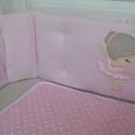 Egyedi applikált rácsvédő babaágyba -Balerina style, Baba-mama-gyerek, Gyerekszoba, Falvédő, takaró, Baba-mama kellék, Varrás, Vidám, kedves és egyedi rácsvédőt készítettünk babaágyba, balerina applikációkkal.   A rácsvédő 3 r..., Meska