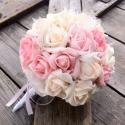 EPERHAB - menyasszonyi, esküvői körcsokor, Esküvő, Otthon, lakberendezés, Kaspó, virágtartó, váza, korsó, cserép, Esküvői csokor, Virágkötés, Gyönyörű habrózsák harmonikus összefonódása, csipke és gombok és madzag kiegészítők elegye teszi kül..., Meska