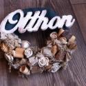 Vintage OTTHON AJTÓDÍSZ, kopogtató, koszorú, Dekoráció, Otthon, lakberendezés, Utcatábla, névtábla, Falikép, Virágkötés, Száraz termésekkel, csipkékkel, vidám szalagokkal és egyéb kiegészítőkkel készült koszorú, kékes szí..., Meska