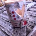 Christmas style - Rusztikus szivecskés lámpás fából, Otthon, lakberendezés, Kaspó, virágtartó, váza, korsó, cserép, Famegmunkálás, Kemény fából faragott lámpás, szív kivágott formával, többféle karácsonyi dekorációval.   Mérete: k..., Meska