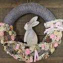 Húsvéti nyuszis kopogtató, koszorú, ajtódísz- szürke, Dekoráció, Otthon, lakberendezés, Dísz, Virágkötés, Egyedi, természetes, üde és friss kopogtatót készítettünk OTTHONOD díszítésére.    Mérete: kb. 33cm..., Meska