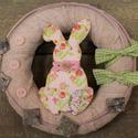 Húsvéti nyuszis kopogtató, koszorú, ajtódísz- rózsaszín, virágos, Dekoráció, Otthon, lakberendezés, Dísz, Virágkötés, Egyedi, természetes, üde és friss kopogtatót készítettünk OTTHONOD díszítésére.    Mérete: kb. 16cm..., Meska