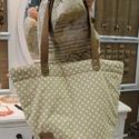 Pöttyös  táska, Ruha, divat, cipő, Táska, Válltáska, oldaltáska, Szatyor, Varrás, Bőrművesség, Vidám, romantikus stílusú krém színű pöttyös táska bőr füllel. Pöttyös béléssel és belsőzsebbel van..., Meska