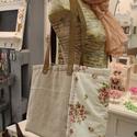 Virágmintás zsákvászon táska , Ruha, divat, cipő, Táska, Válltáska, oldaltáska, Szatyor, Varrás, Bőrművesség, Egyesi, stílusos női táska zsákvászonból és pamutvászonból. Pöttyös béléssel és belsőzsebbel van el..., Meska
