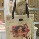 Vintage zsákvászon táska , Ruha, divat, cipő, Táska, Válltáska, oldaltáska, Szatyor, Varrás, Bőrművesség, Egyesi, stílusos női táska zsákvászonból és pamutvászonból. Pöttyös béléssel és belsőzsebbel van el..., Meska