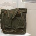 Katonazöld  zsákvászon táska nagy zsebekkel, Ruha, divat, cipő, Táska, Válltáska, oldaltáska, Szatyor, Varrás, Bőrművesség, Egyesi, stílusos női táska zsákvászonból és pamutvászonból.Béléssel és belsőzsebbel van ellátva. Vá..., Meska