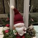 Adventi asztaldísz, mikulással., Dekoráció, Otthon, lakberendezés, Ünnepi dekoráció, Virágkötés, Karácsonyi asztaldísz - minden darab, kézzel - szívvel készítve csak NEKED! Tartós anyagokból készü..., Meska