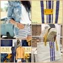 Kék csíkos zsákvászon táska , Ruha, divat, cipő, Táska, Válltáska, oldaltáska, Szatyor, Varrás, Bőrművesség, Egyesi, stílusos női táska zsákvászonból és pamutvászonból. Pöttyös béléssel és belsőzsebbel van el..., Meska