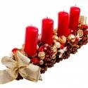 Párizs adventi / karácsonyi  asztaldísz / toboz, Karácsonyi dekoráció, Karácsonyi, adventi apróságok, Mindenmás, Virágkötés, Toboz alapra készült karácsonyi asztaldísz. Nagyon piros,krém és arany színű kompozíció. 80-100 db ..., Meska