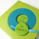 Zöld-türkiz notesz, Képeslap, album, füzet, Jegyzetfüzet, napló, naptár, Könyvkötés, 14x14 cm-es (L-es méretű)notesz, műbőr és textil borítással. Mint minden Noteshell notesz / határidő..., Meska