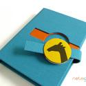 M-es notesz/határidőnapló BORÍTÓ - türkiz-sárga-csíkos-zsiráf portré, Naptár, képeslap, album, Jegyzetfüzet, napló, Naptár, Könyvkötés, Korongos (CLICK-IN) notesz *** CSAK BORÍTÓ!, 200 oldalas REGULAR belívhez!  *** mérete: 10x14 cm, *..., Meska